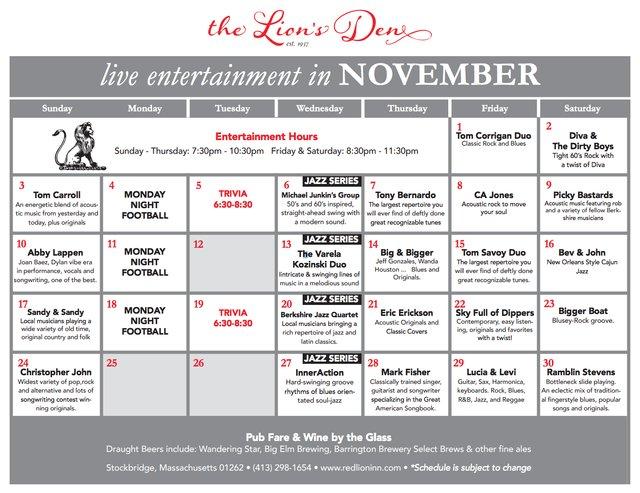November Lions den music calendar