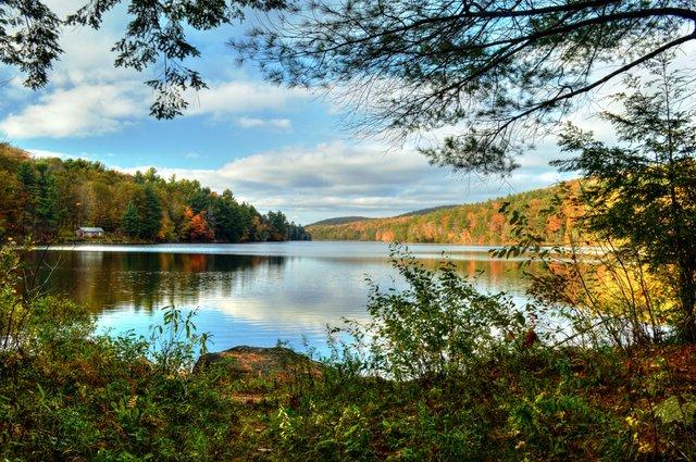 Berkshires lake foliage view